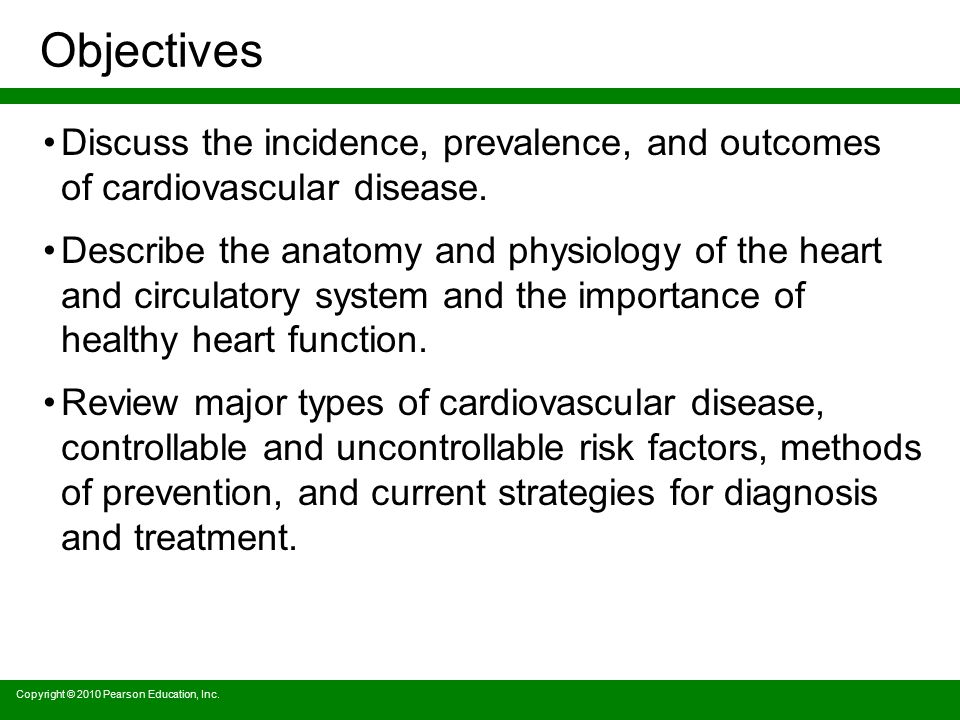 Objectives Discuss the incidence, prevalence, and outcomes of cardiovascular disease.