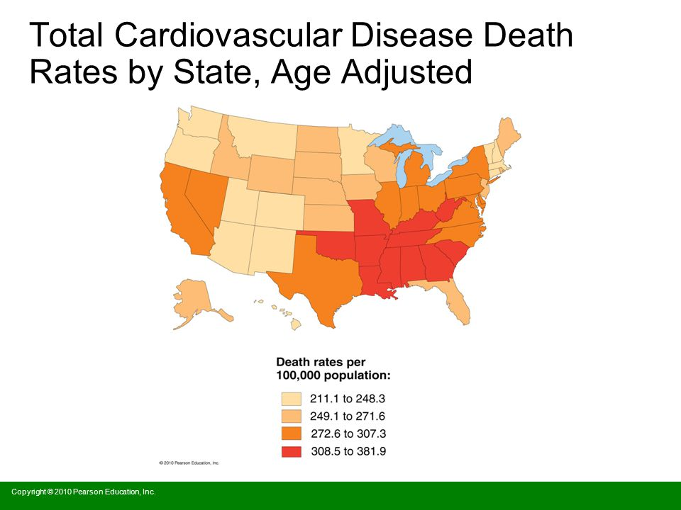 Total Cardiovascular Disease Death Rates by State, Age Adjusted