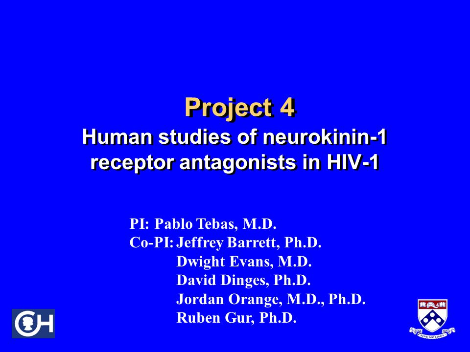 Human studies of neurokinin-1 receptor antagonists in HIV-1