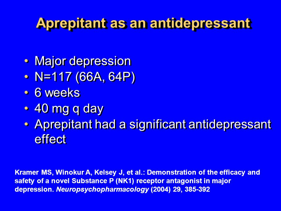 Aprepitant as an antidepressant