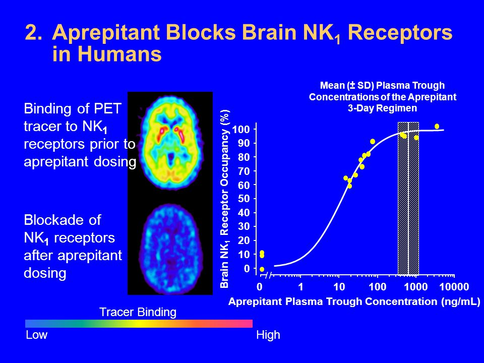 Aprepitant Blocks Brain NK1 Receptors in Humans