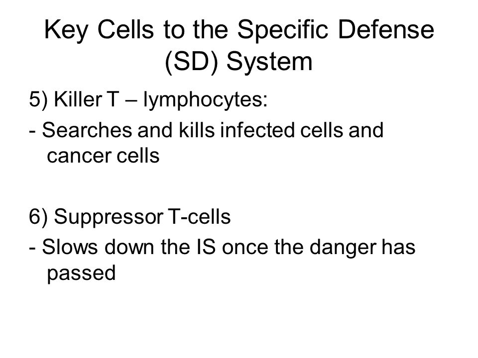 Key Cells to the Specific Defense (SD) System