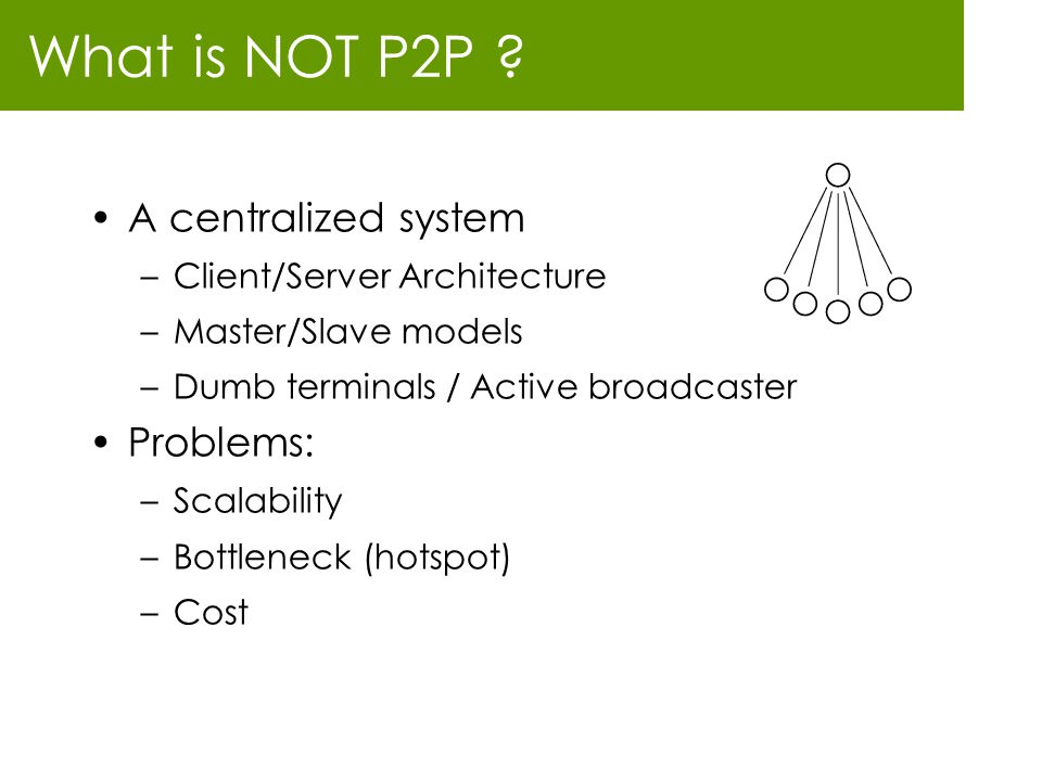 What is NOT P2P A centralized system Problems: