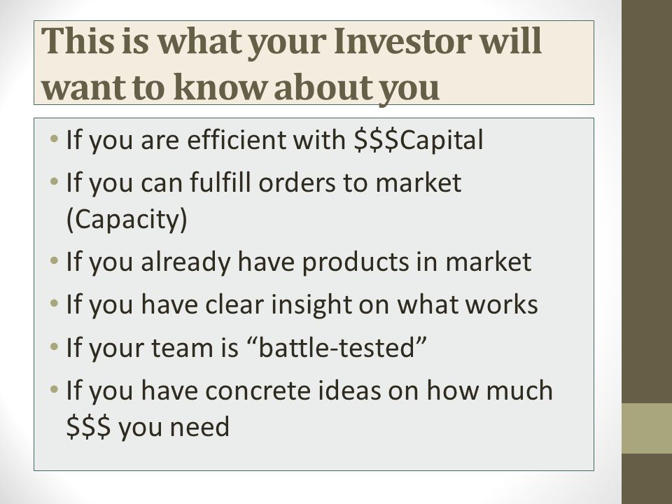 This is what your Investor will want to know about you