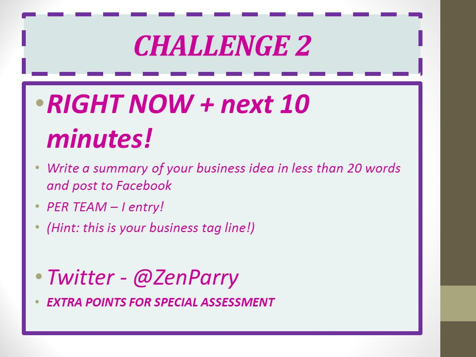 CHALLENGE 2 RIGHT NOW + next 10 minutes! Twitter - @ZenParry