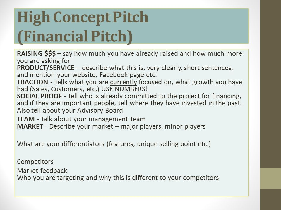 High Concept Pitch (Financial Pitch)
