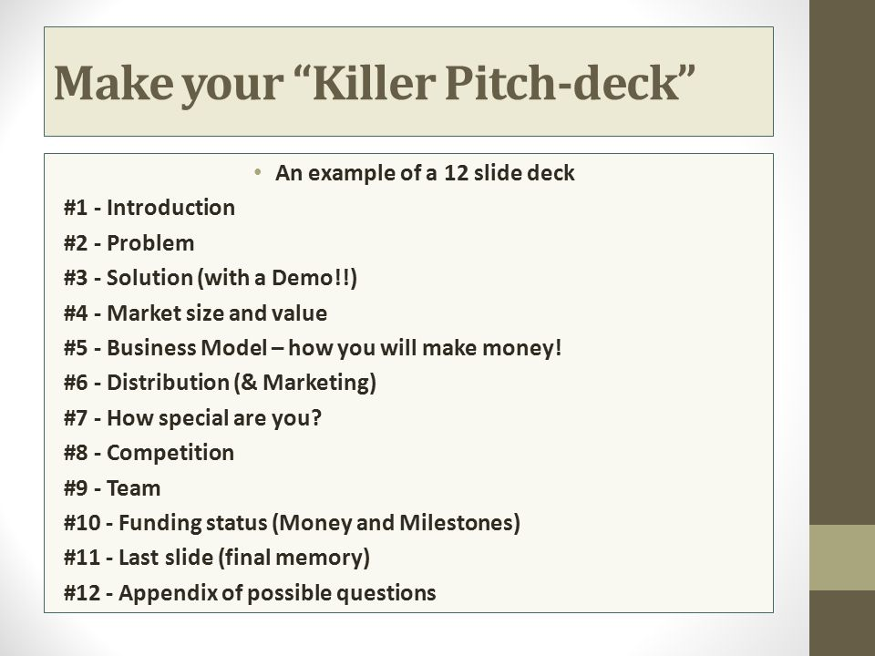 Make your Killer Pitch-deck