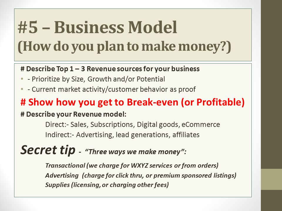 #5 – Business Model (How do you plan to make money )