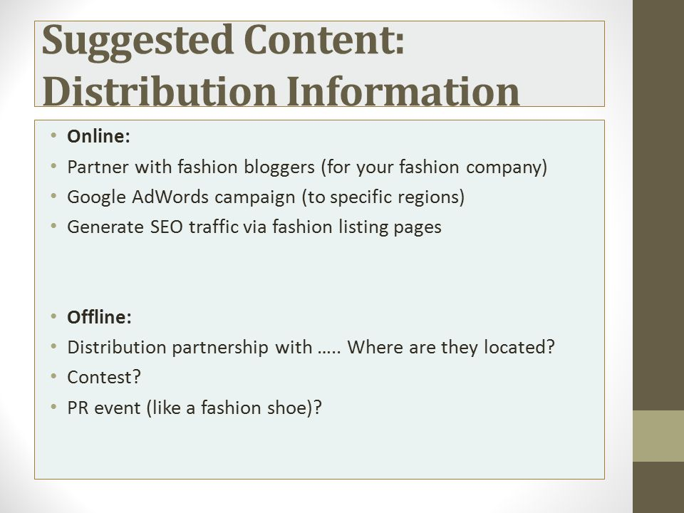 Suggested Content: Distribution Information