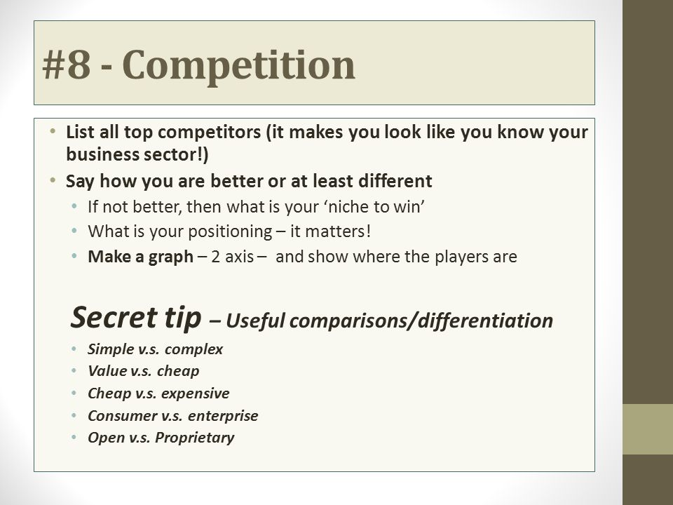 #8 - Competition Secret tip – Useful comparisons/differentiation