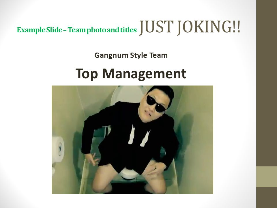 Example Slide – Team photo and titles JUST JOKING!!