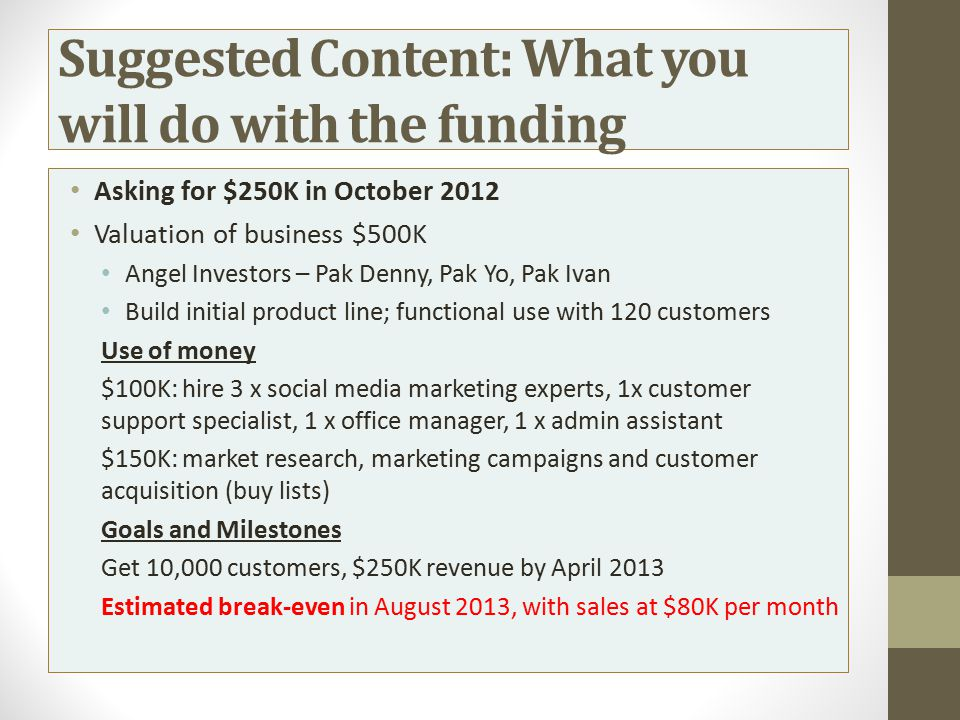 Suggested Content: What you will do with the funding
