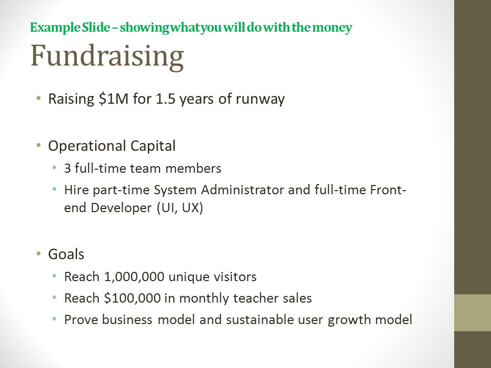 Example Slide – showing what you will do with the money Fundraising