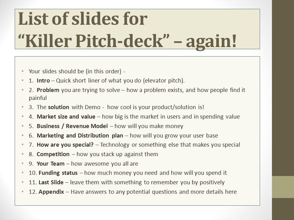List of slides for Killer Pitch-deck – again!
