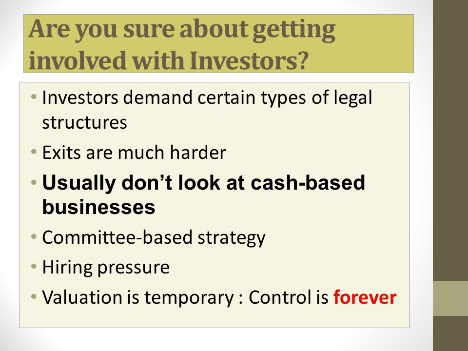Are you sure about getting involved with Investors
