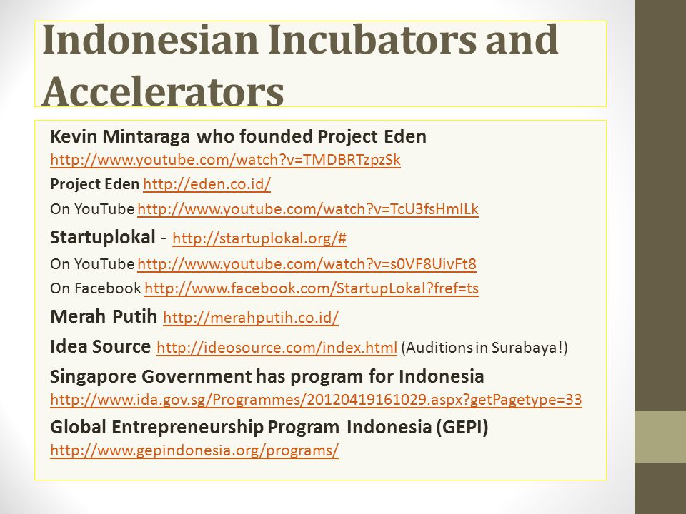 Indonesian Incubators and Accelerators