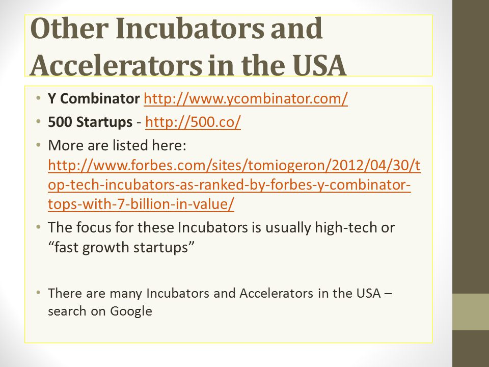 Other Incubators and Accelerators in the USA