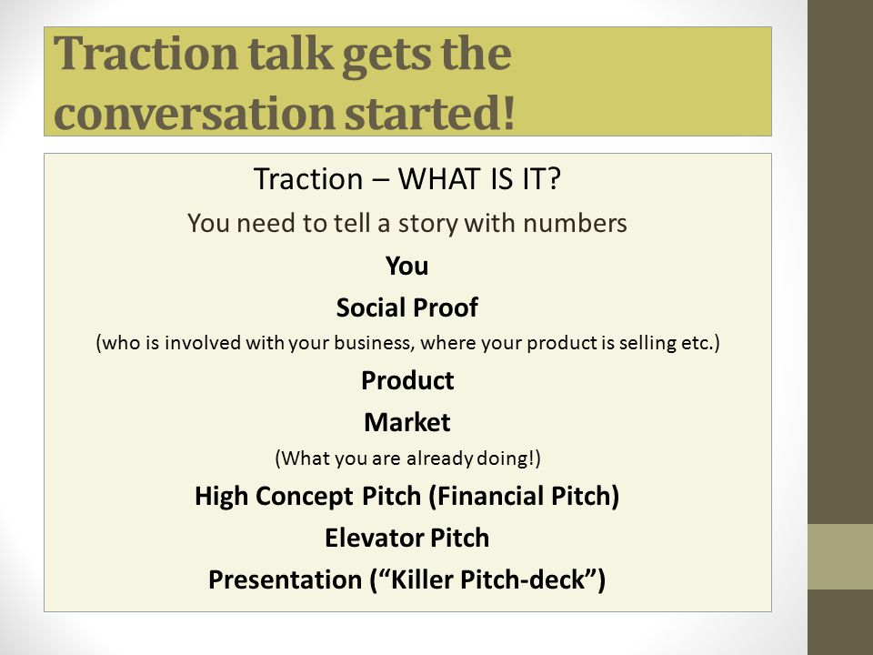 Traction talk gets the conversation started!