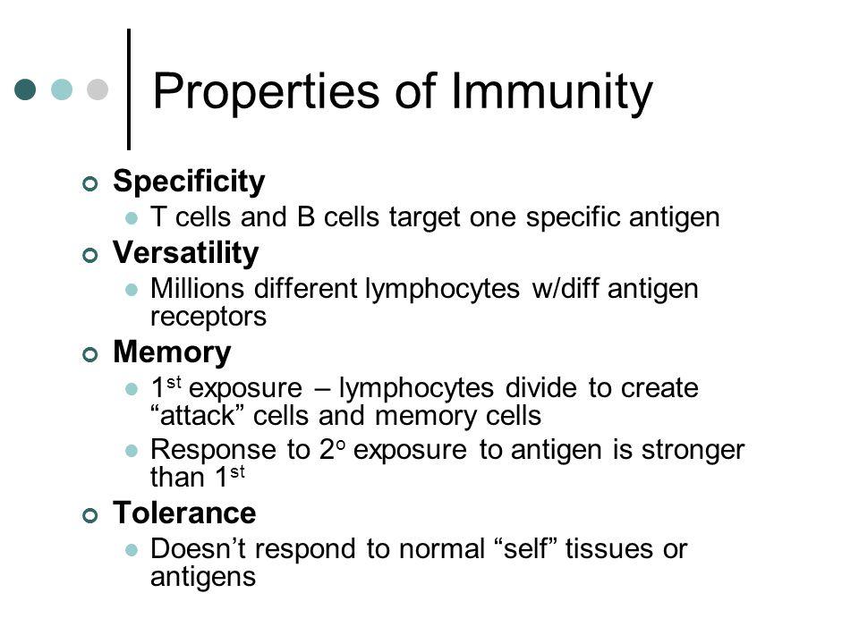 Properties of Immunity