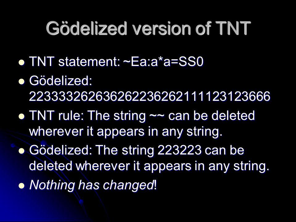 Gödelized version of TNT