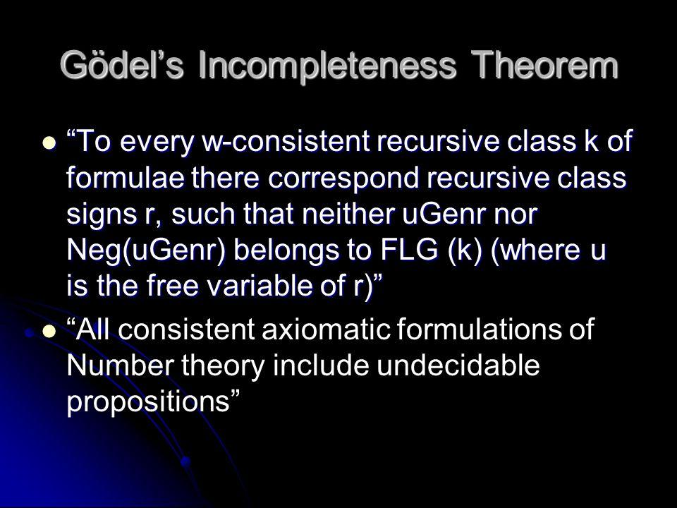 Gödel's Incompleteness Theorem