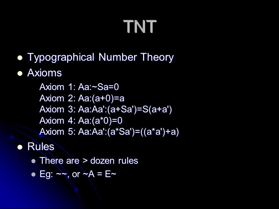 TNT Typographical Number Theory Axioms Rules