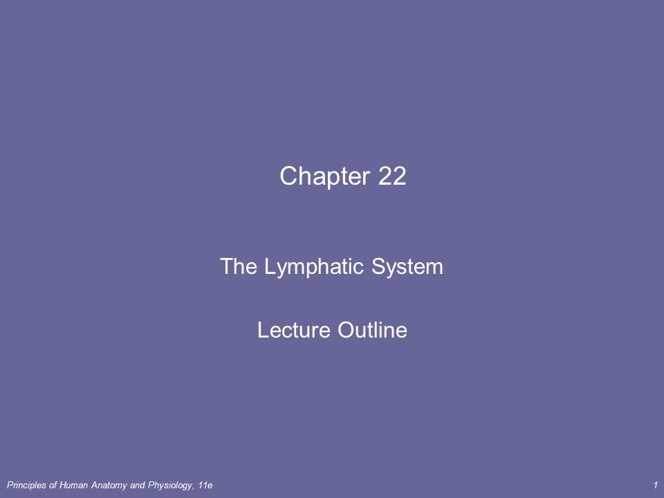 The Lymphatic System Lecture Outline