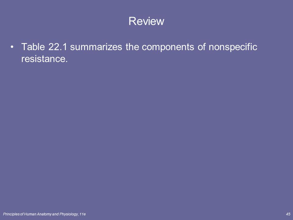 Review Table 22.1 summarizes the components of nonspecific resistance.