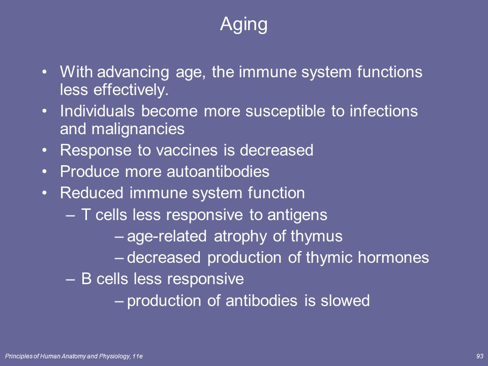 Aging With advancing age, the immune system functions less effectively. Individuals become more susceptible to infections and malignancies.