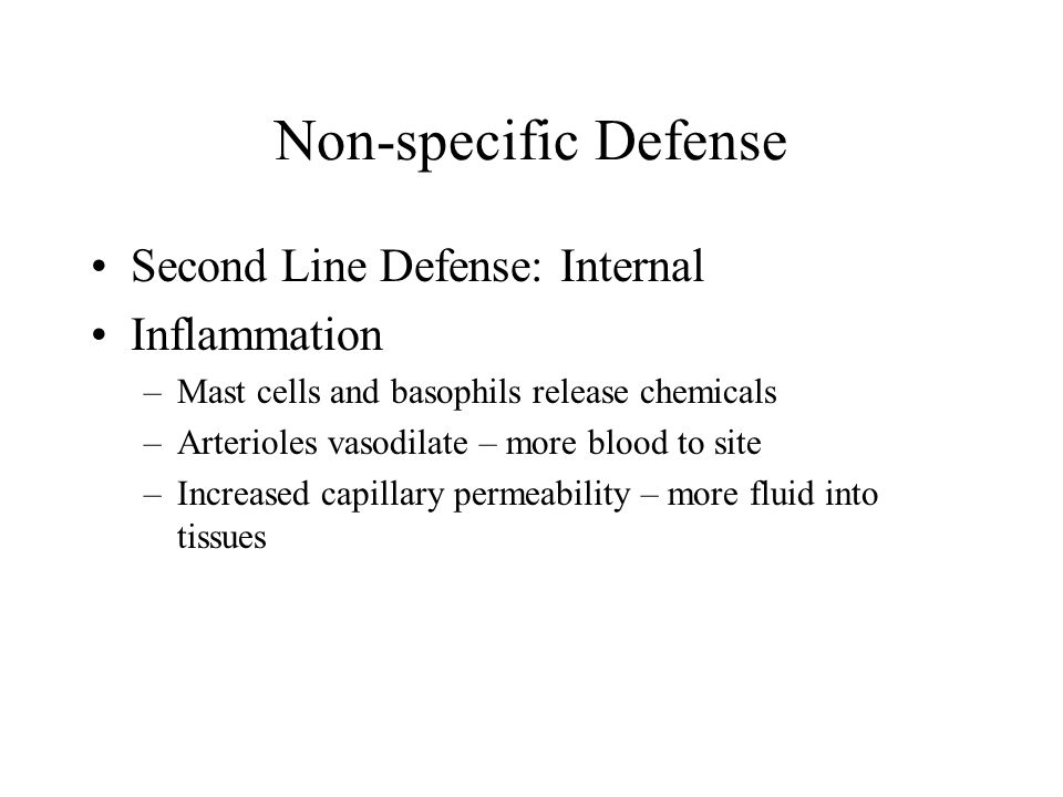 Non-specific Defense Second Line Defense: Internal Inflammation