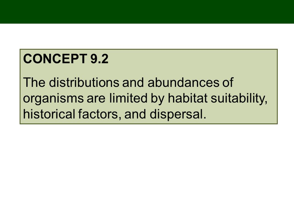 CONCEPT 9.2 The distributions and abundances of organisms are limited by habitat suitability, historical factors, and dispersal.