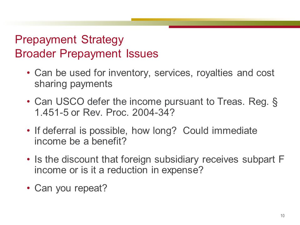 Prepayment Strategy Broader Prepayment Issues