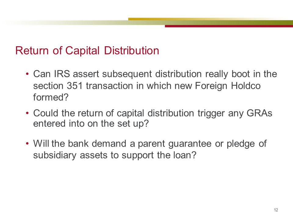 Return of Capital Distribution