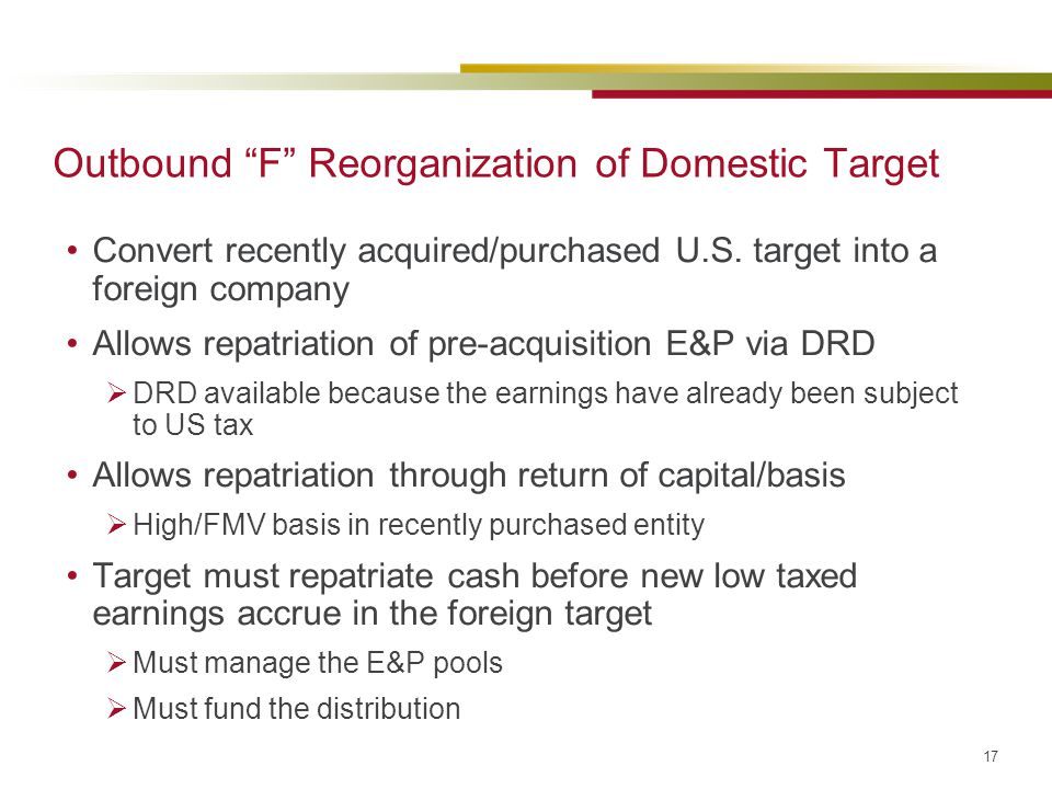 Outbound F Reorganization of Domestic Target