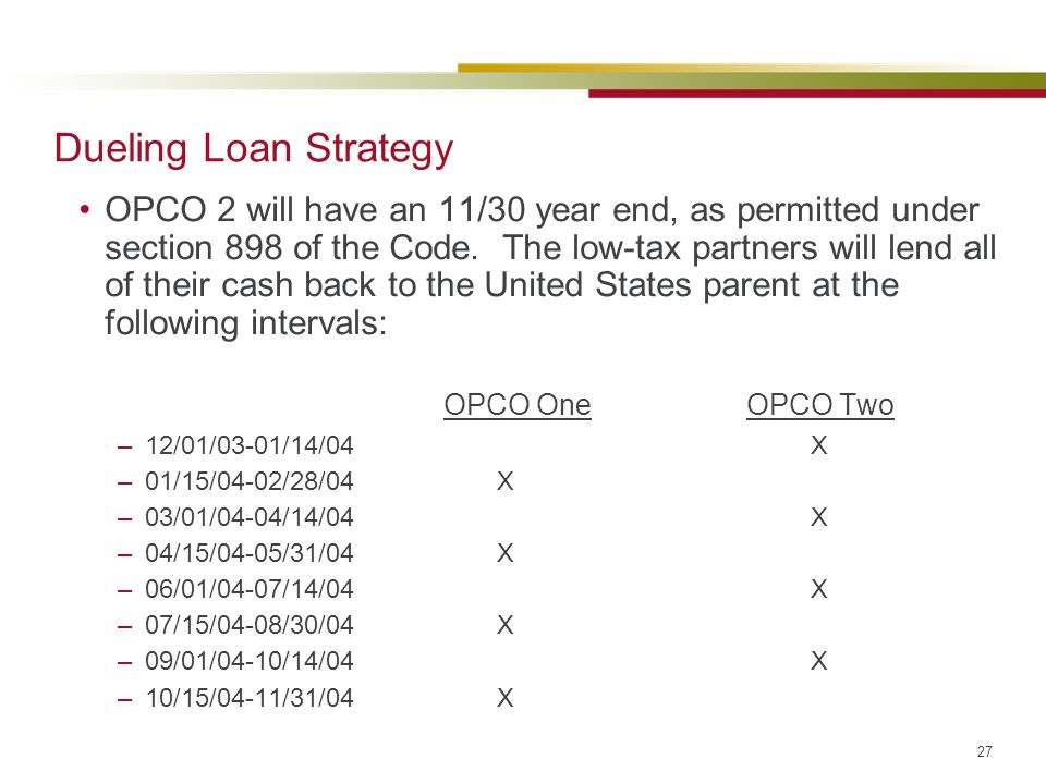 Dueling Loan Strategy OPCO One OPCO Two