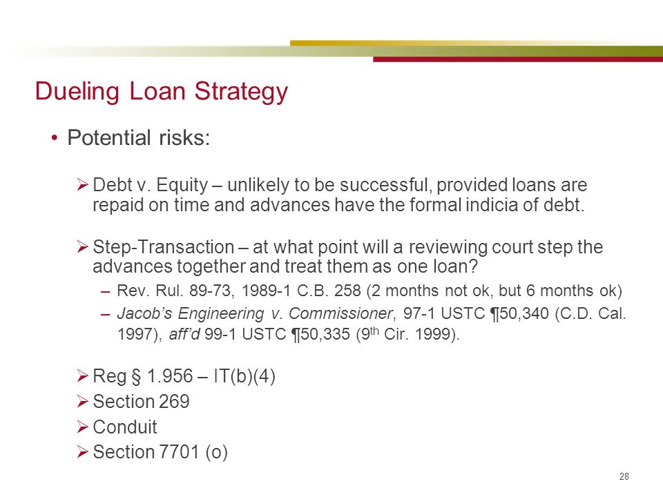 Dueling Loan Strategy Potential risks: