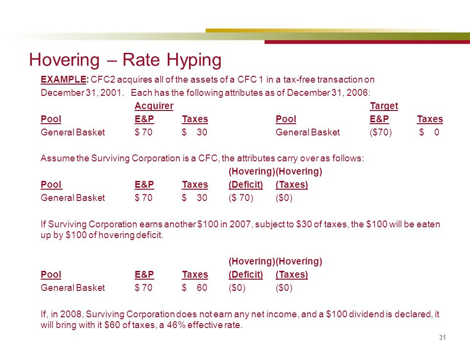 Hovering – Rate Hyping EXAMPLE: CFC2 acquires all of the assets of a CFC 1 in a tax-free transaction on.