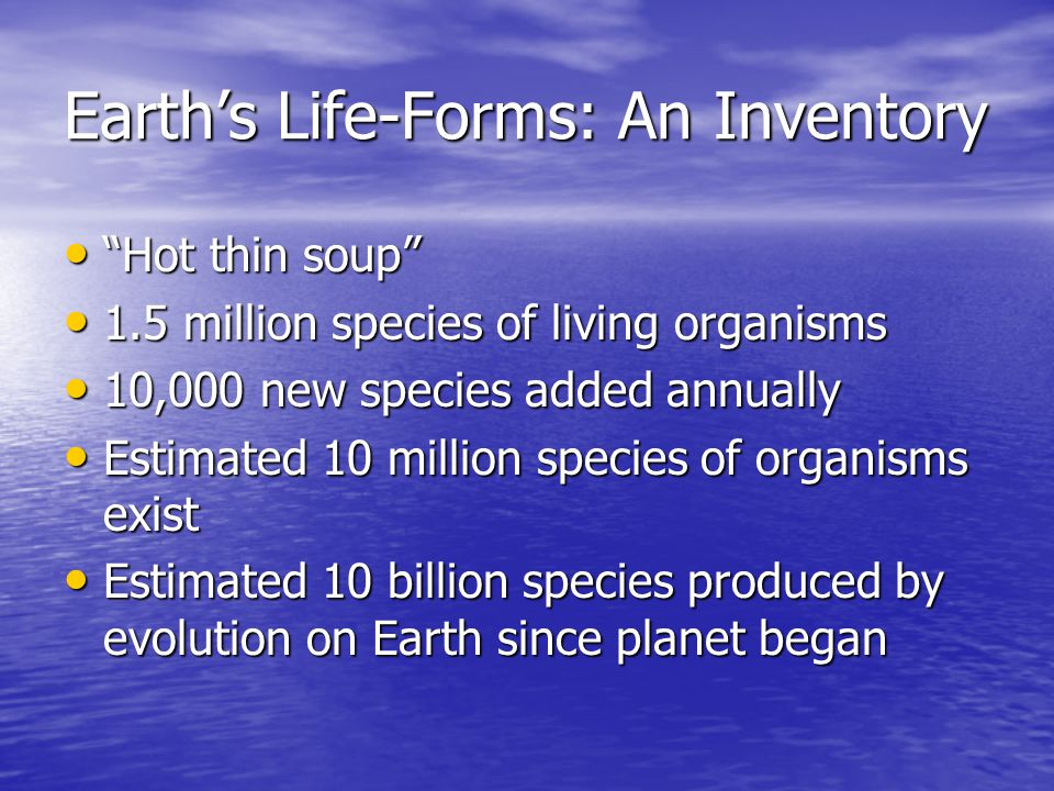 Earth's Life-Forms: An Inventory
