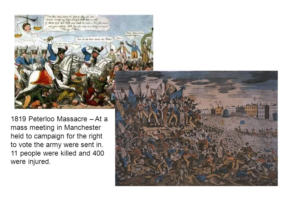 1819 Peterloo Massacre – At a mass meeting in Manchester held to campaign for the right to vote the army were sent in.