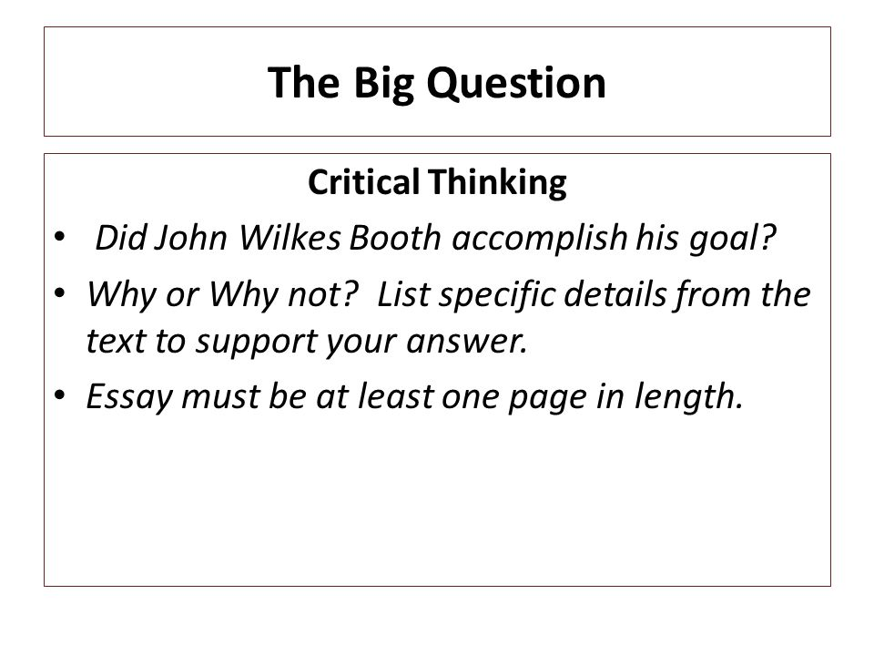 The Big Question Critical Thinking