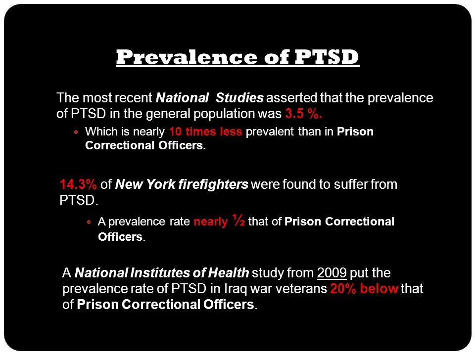 Prevalence of PTSD The most recent National Studies asserted that the prevalence of PTSD in the general population was 3.5 %.
