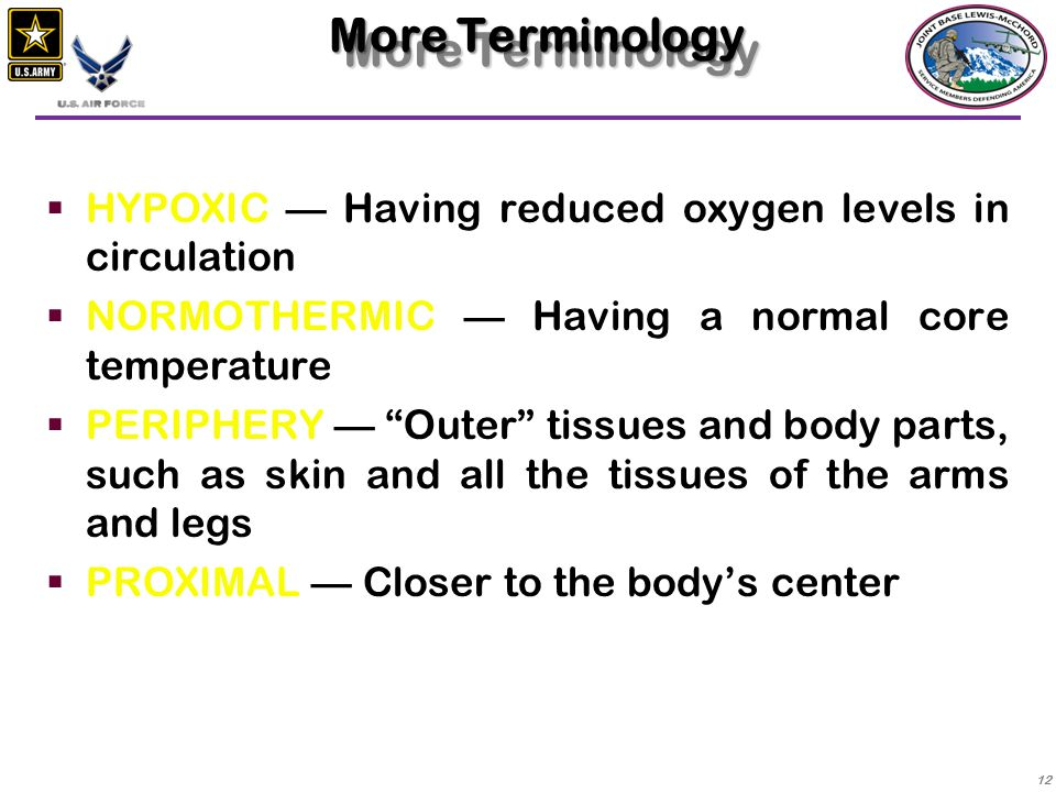 More Terminology HYPOXIC — Having reduced oxygen levels in circulation