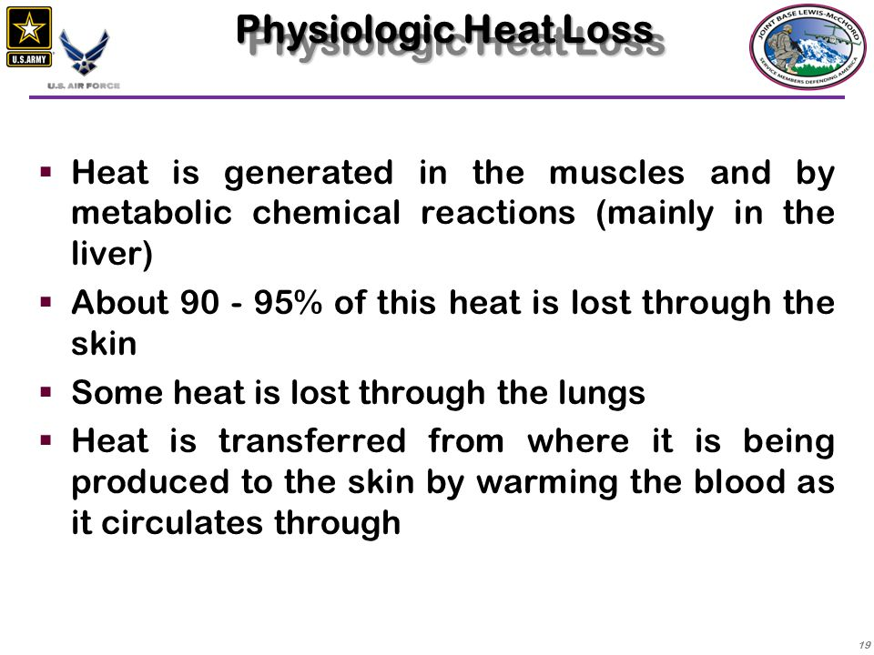 Physiologic Heat Loss Heat is generated in the muscles and by metabolic chemical reactions (mainly in the liver)