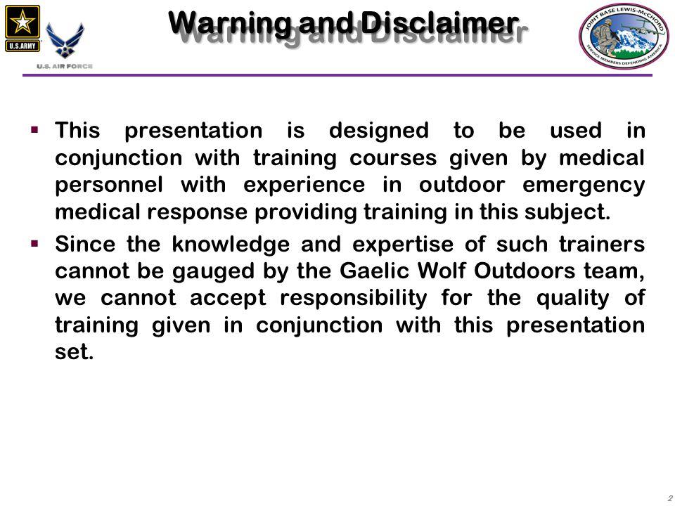 Warning and Disclaimer