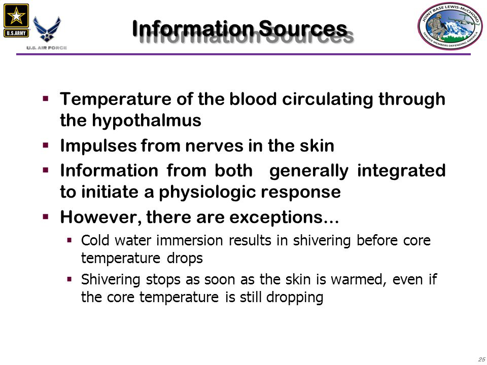 Information Sources Temperature of the blood circulating through the hypothalmus. Impulses from nerves in the skin.