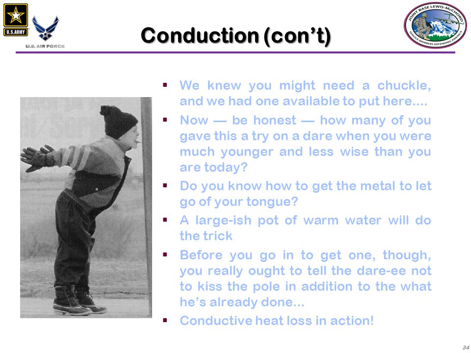 Conduction (con't) We knew you might need a chuckle, and we had one available to put here....