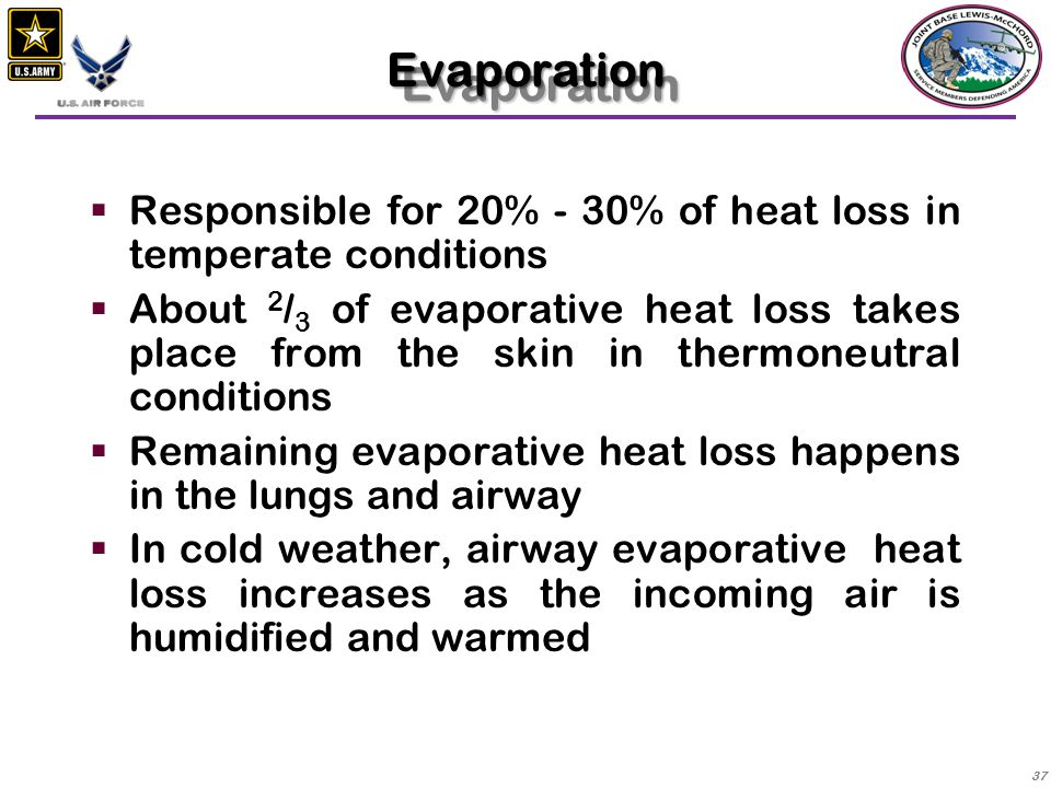 Evaporation Responsible for 20% - 30% of heat loss in temperate conditions.