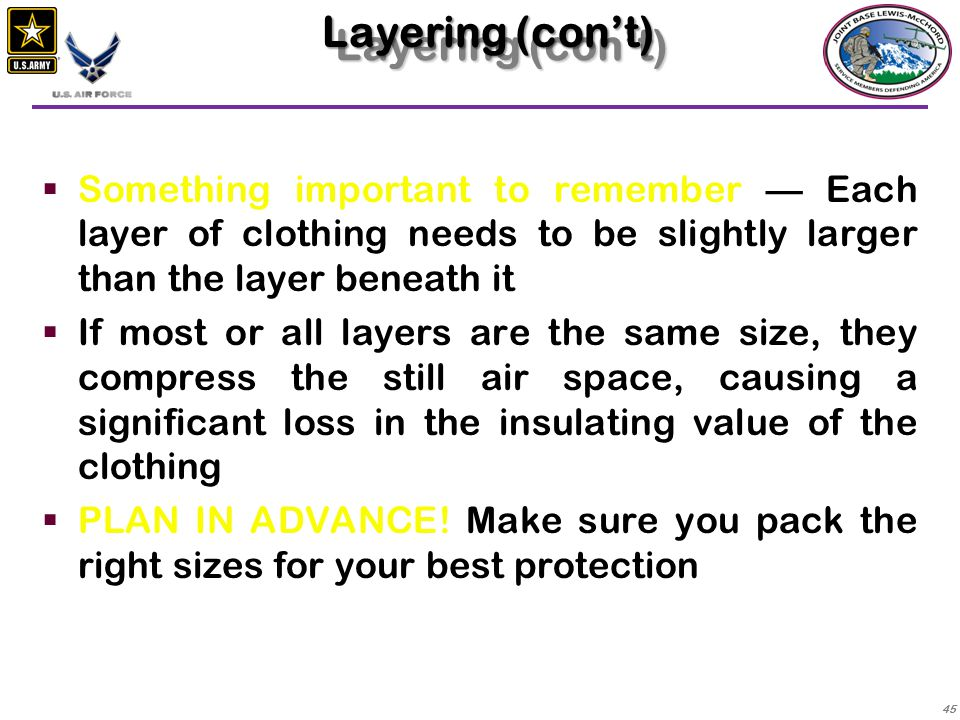 Layering (con't) Something important to remember — Each layer of clothing needs to be slightly larger than the layer beneath it.