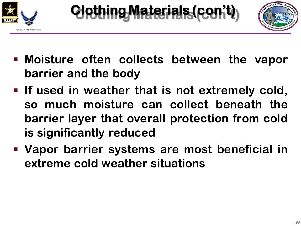 Clothing Materials (con't)
