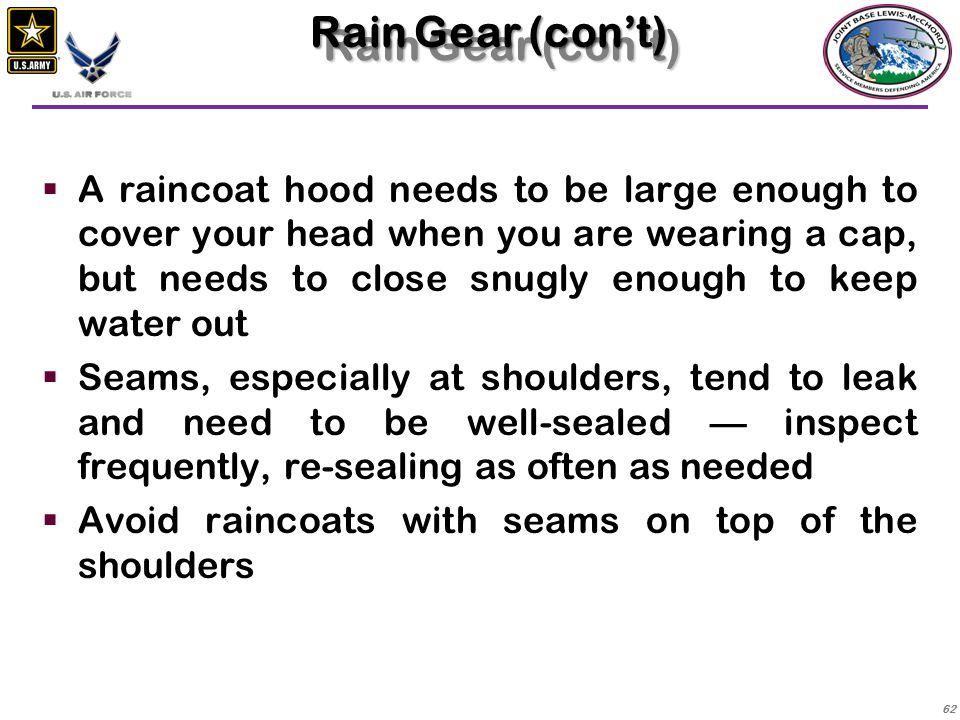 Rain Gear (con't)
